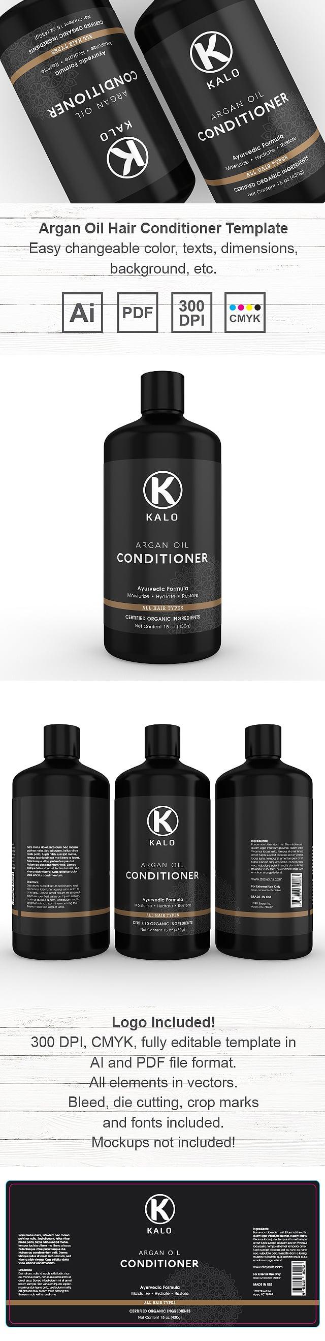 Argan Oil Hair Conditioner Label Template