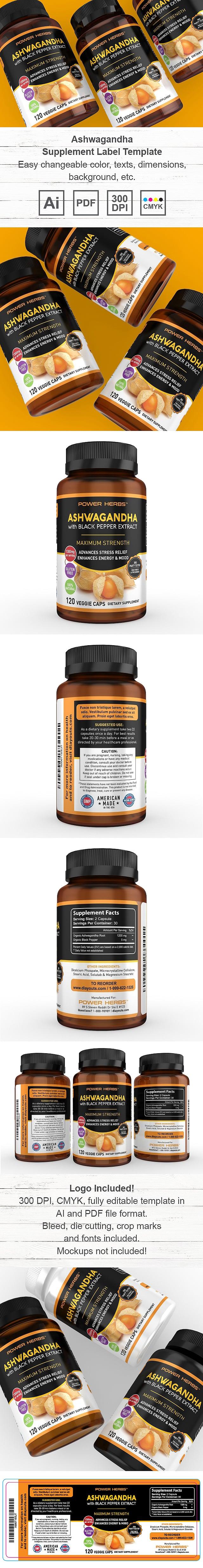 Premium Ashwagandha Supplement Label Template