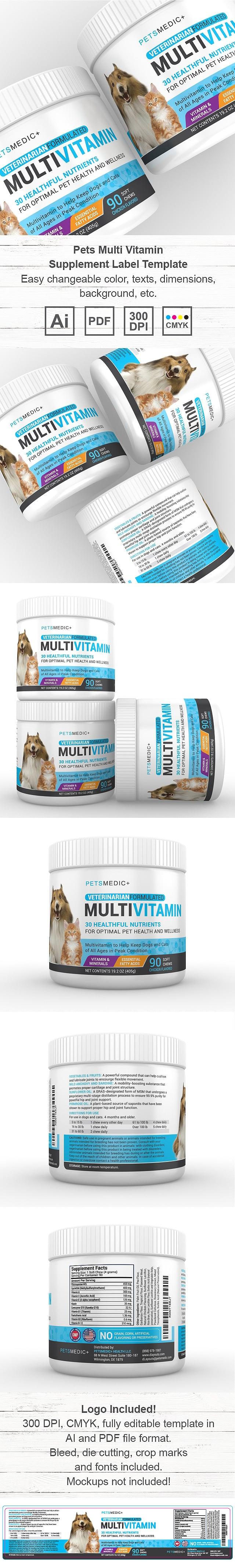 Pets Multi Vitamin Supplement Label Template