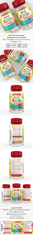 Kids Fish Oil Gummies Supplement Label Template