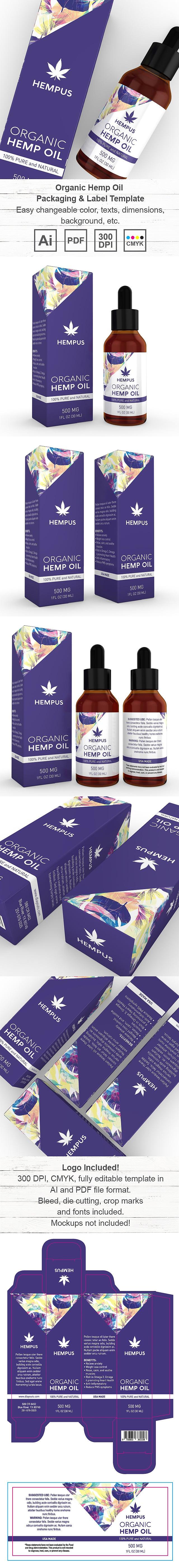Organic Hemp Oil Drops Packaging & Label Template