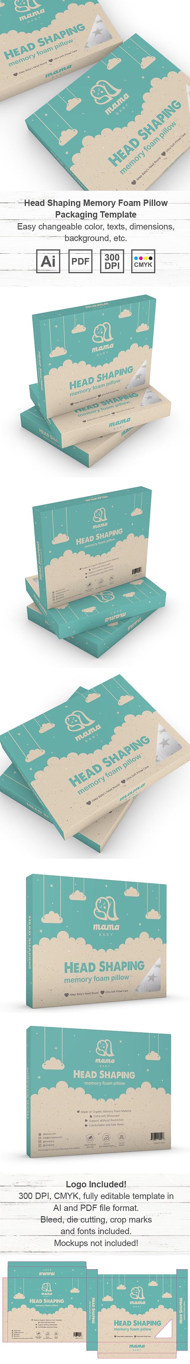 Head Shaping Memory Foam Pillow Packaging Template