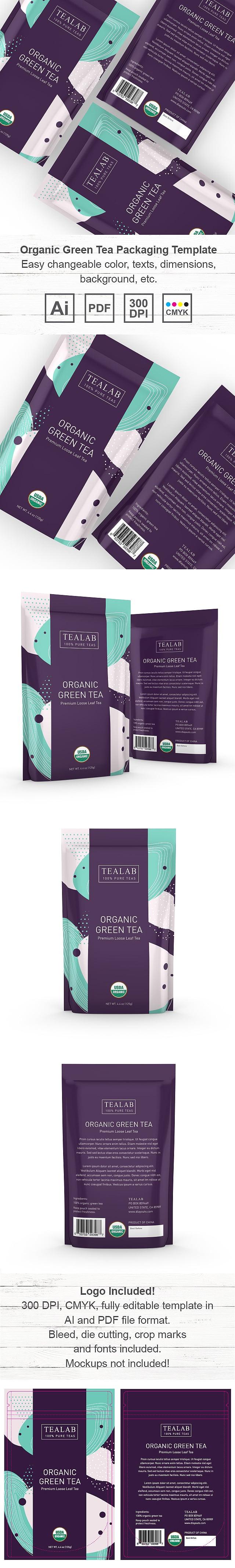 Organic Green Tea Loose Leaf Packaging Template