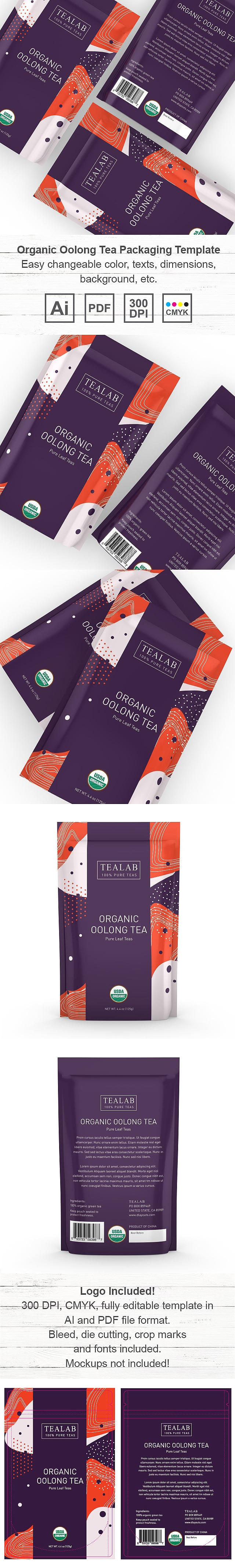 Organic Oolong Tea Loose Leaf Packaging Template