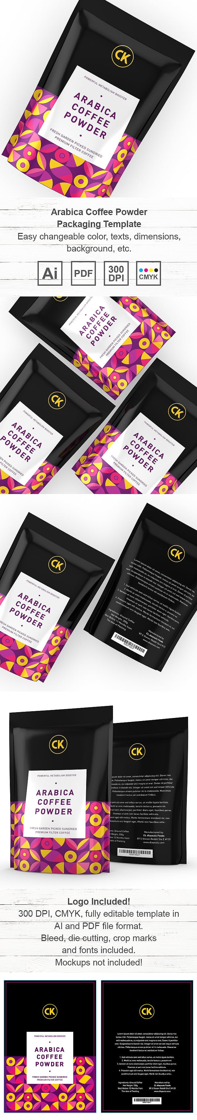 Arabica Filtered Coffee Powder Packaging Template
