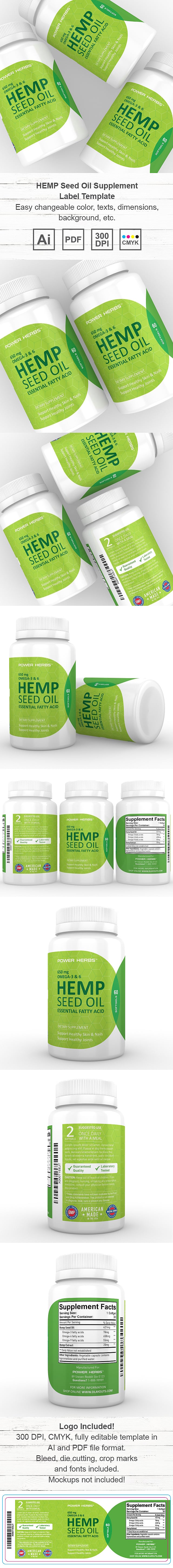 Hemp Seed Oil Supplement Label Template