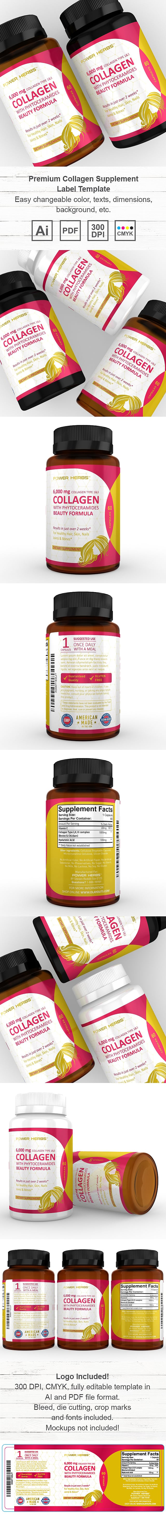 Premium Collagen Supplement Label Template