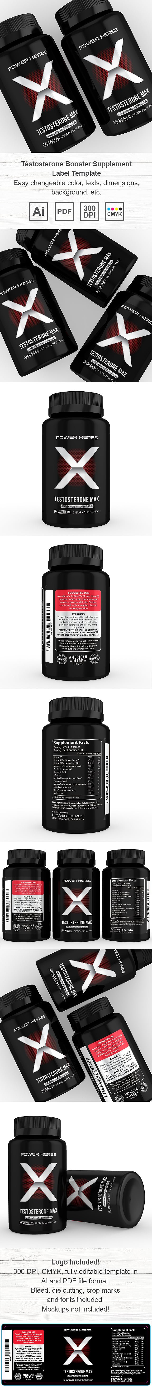 Testosterone Booster Supplement Label Template