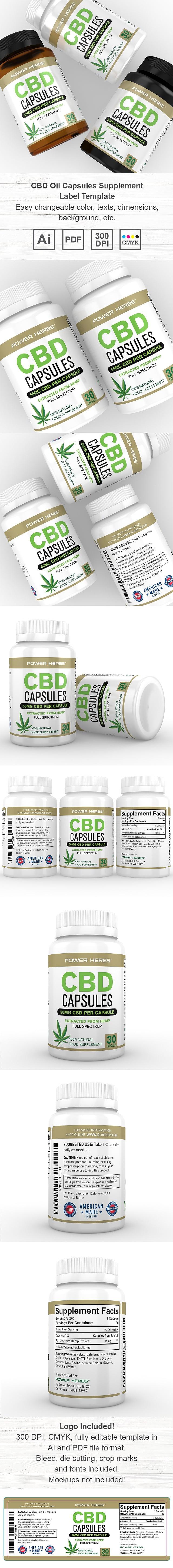 CBD Oil Capsules Supplement Label Template