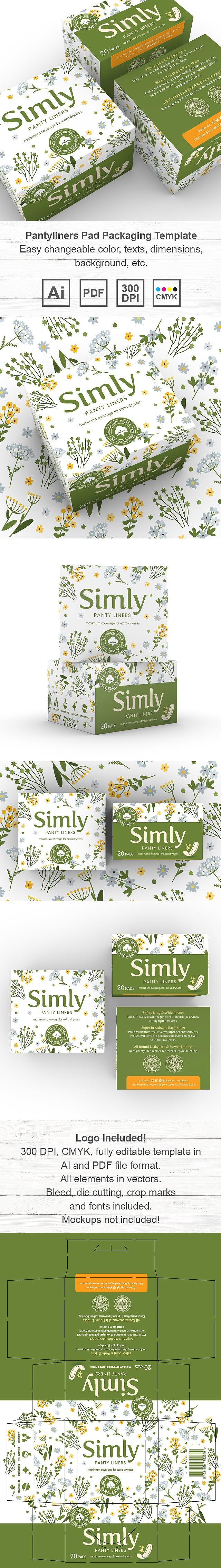 Pantyliners Pad Packaging Template