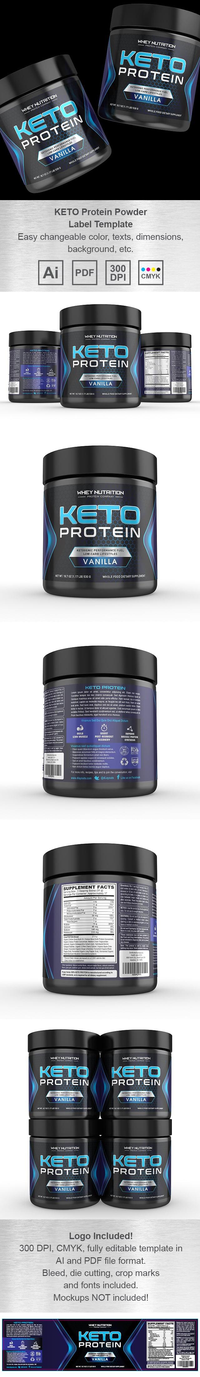 KETO Protein Vanilla Powder Supplement Label Template
