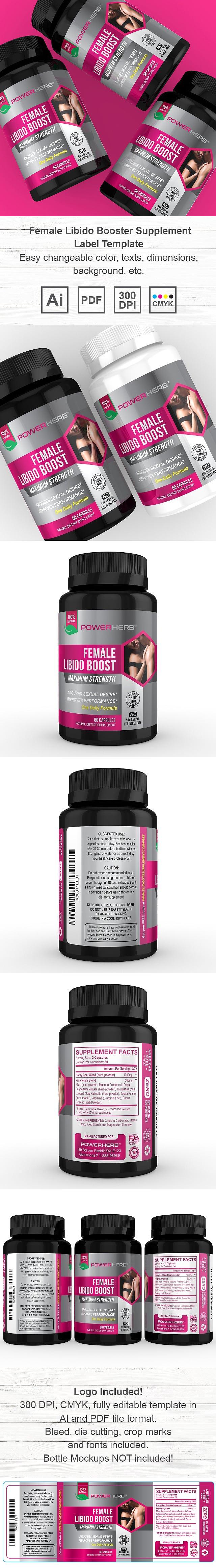 Women Libido Booster Supplement Label Template