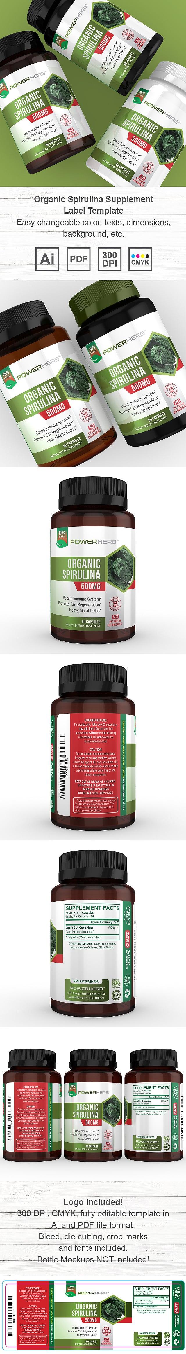 Organic Spirulina Supplement Label Template