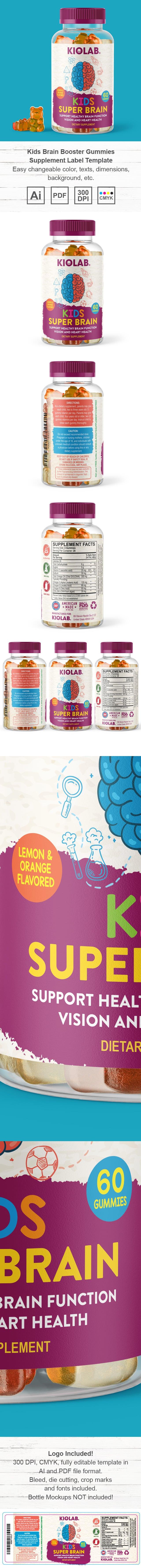 Kids Brain Booster Gummies Supplement Label Template