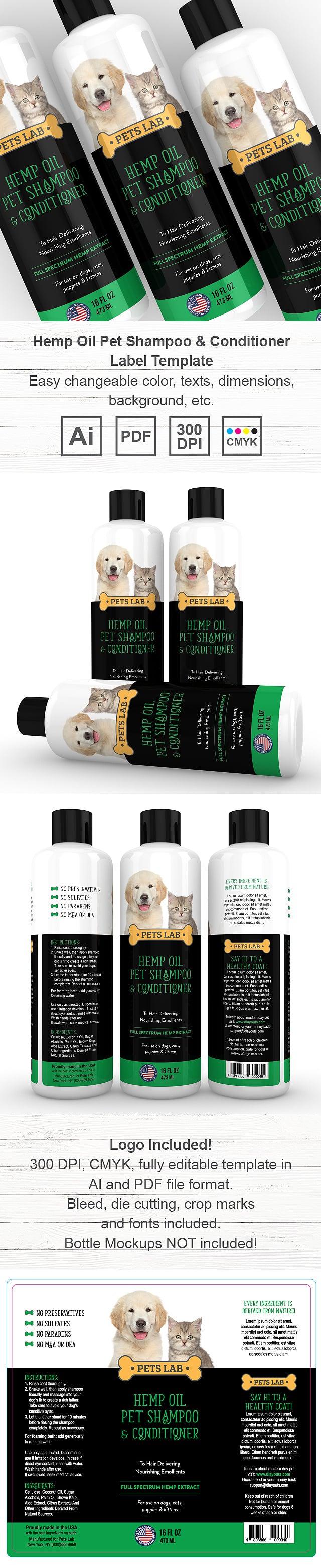 Hemp Oil Pet Shampoo & Conditioner Label Template