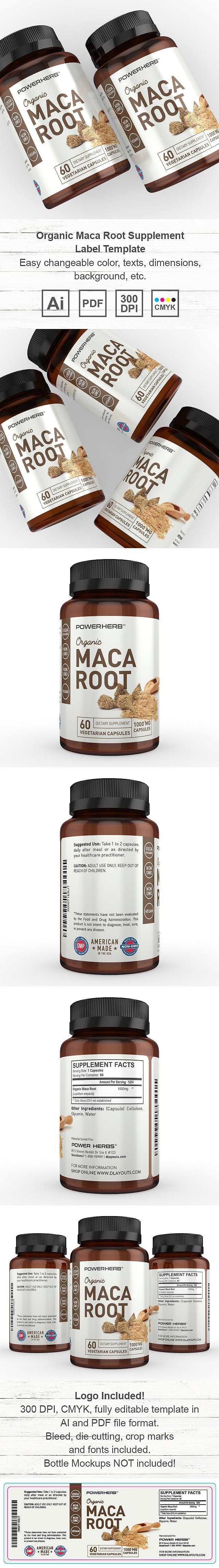 Organic Maca Root Supplement Label Template