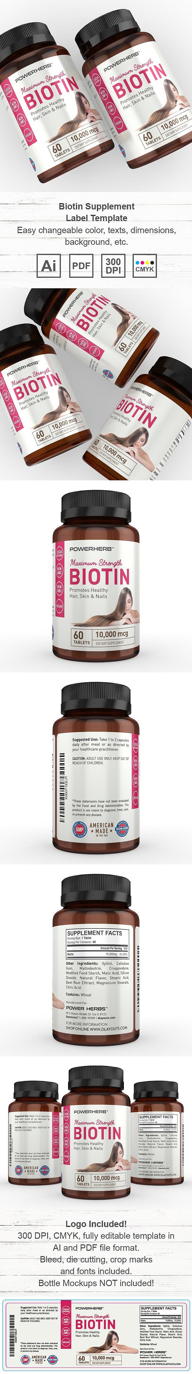 Biotin Supplement Label Template