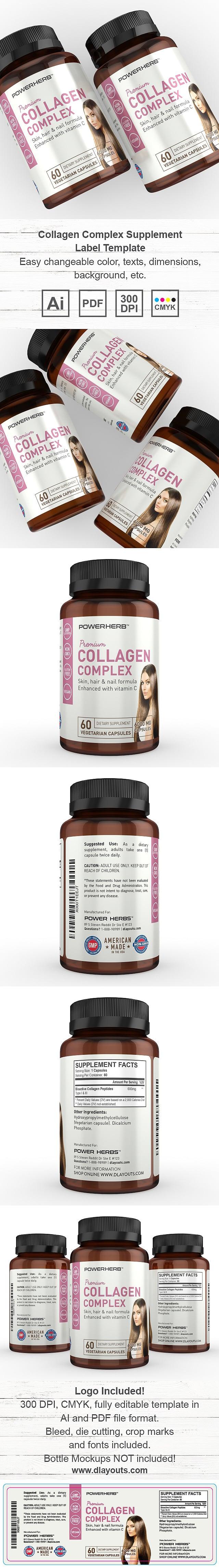 Collagen Complex Supplement Label Template