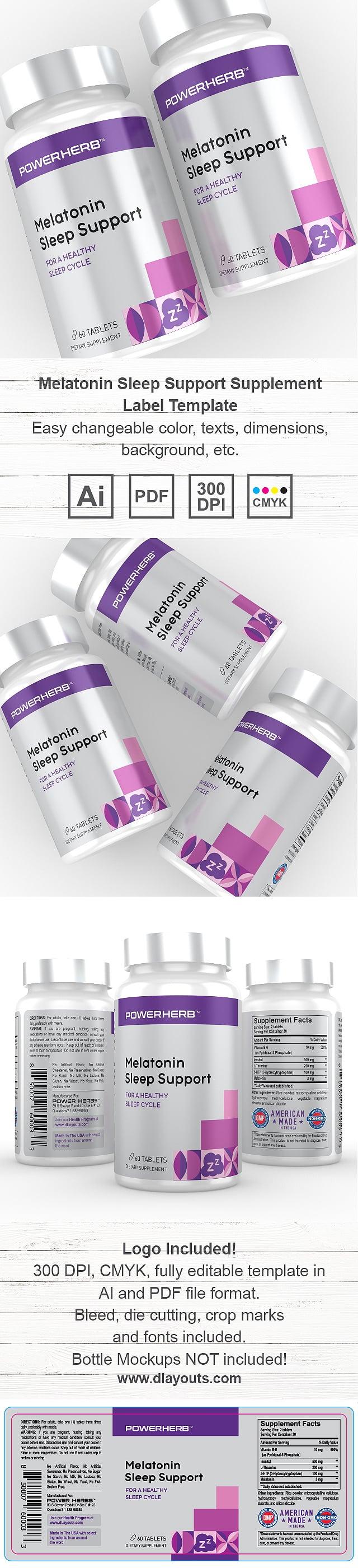 Sleep Support Supplement Label Template