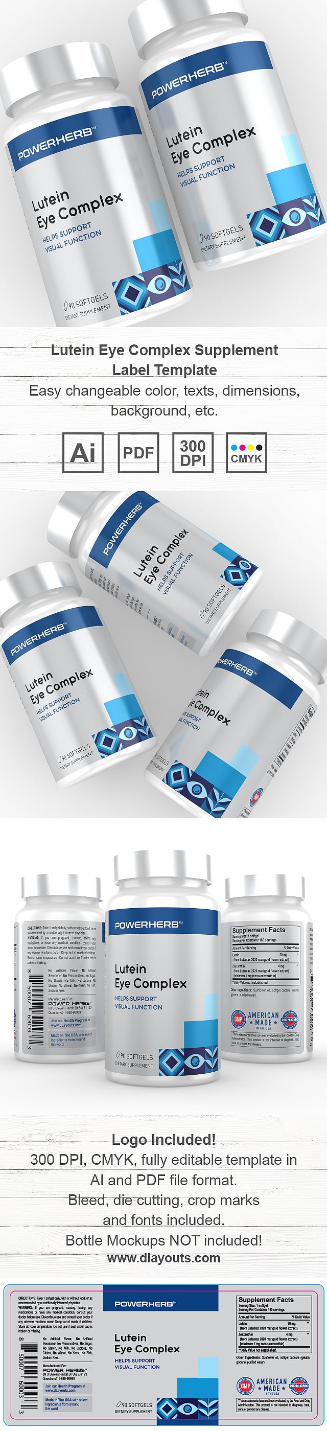 Lutein Eye Complex Supplement Label Template