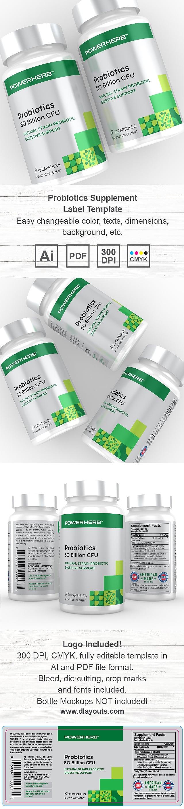 Probiotics Supplement Label Template