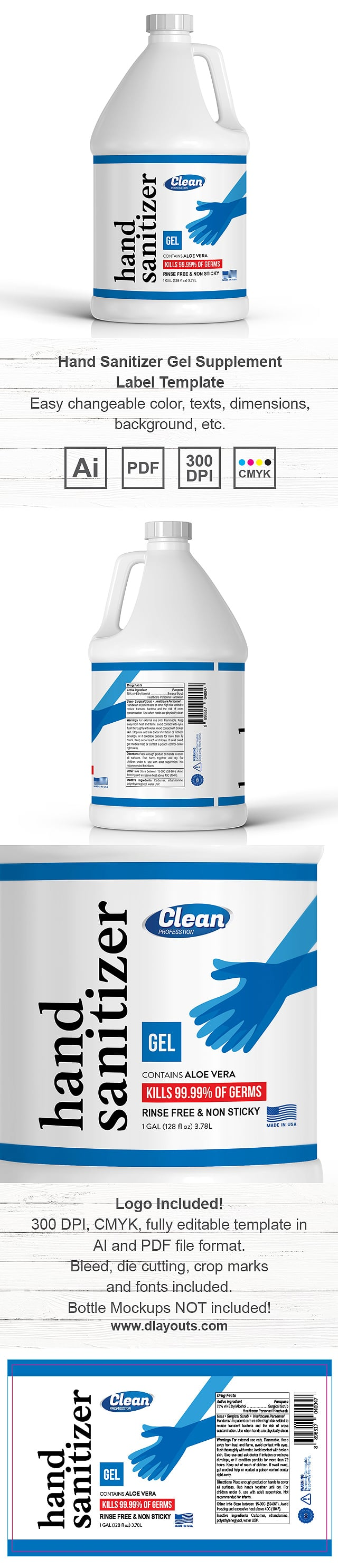Hand Sanitizer Gel Label Template