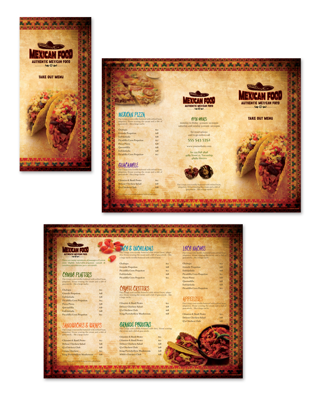 Mexican Restaurant Take-out Menu Template