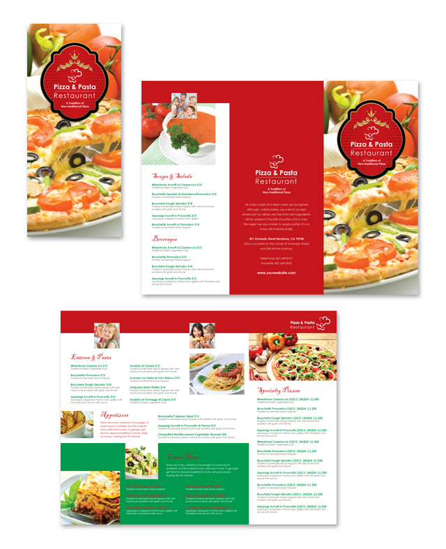 Italian Restaurant Take-out Menu Template