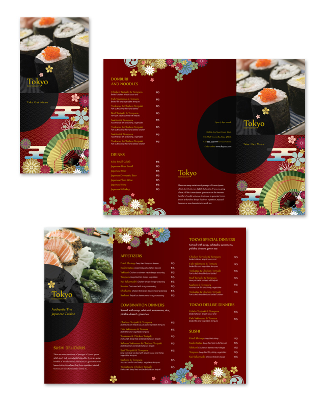 Japanese Restaurant Take-out Menu Template