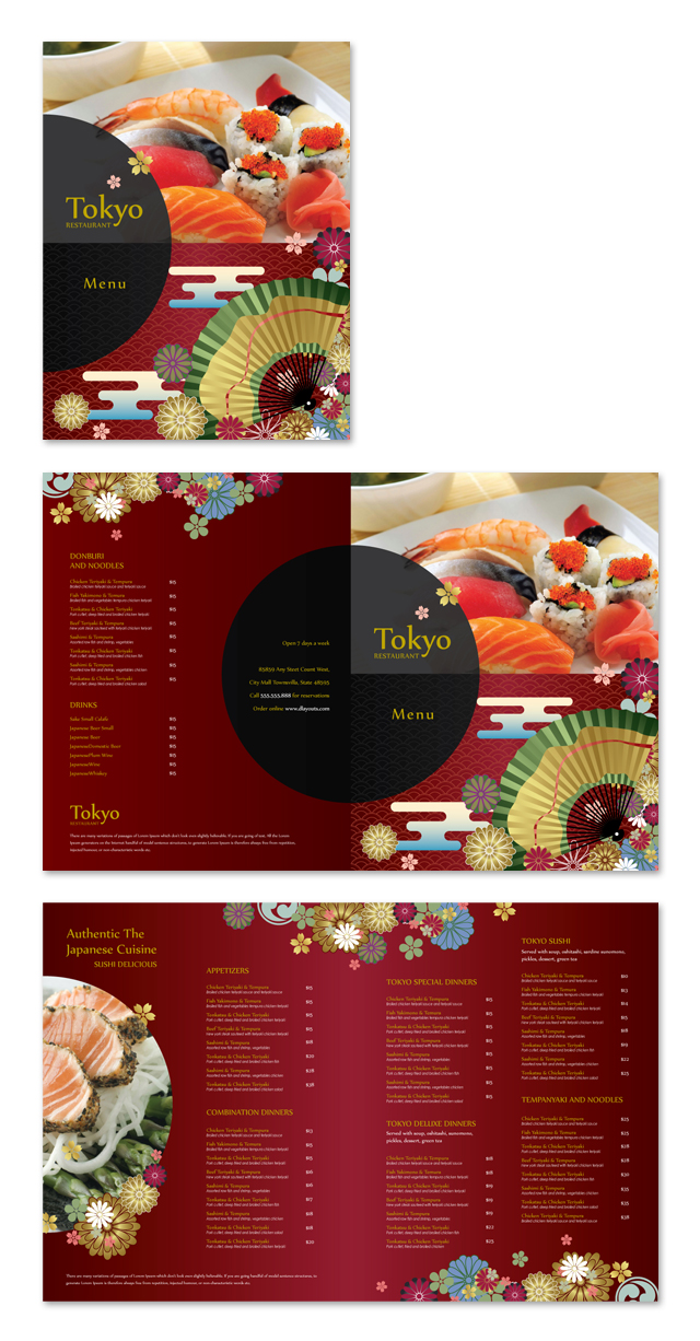 Japanese Sushi Restaurant Menu Template