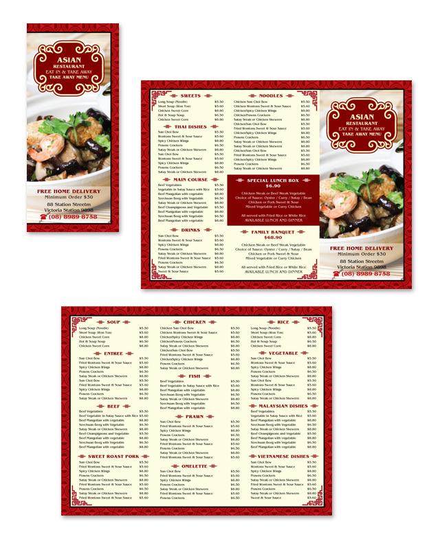 Asian Restaurant Take Away Menu Template
