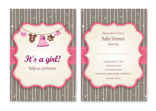 Baby Girl Shower Invitations Note Card Template