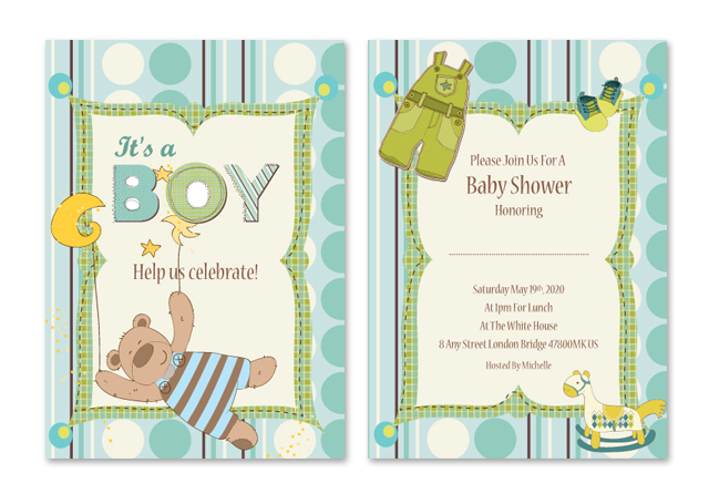 Baby Boy Shower Invitations Note Card Template