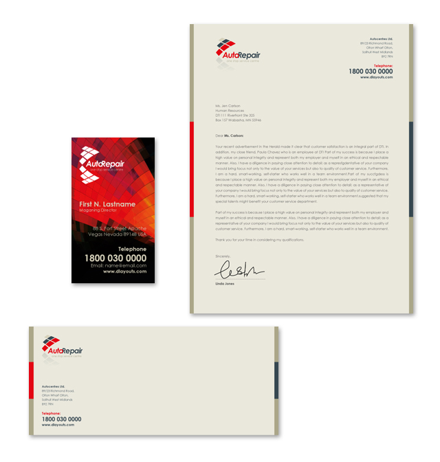 Auto Repair Center Stationery Kits Template