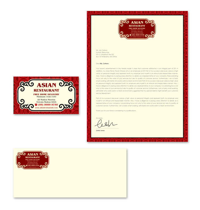 Asian Restaurant Take Away Stationery Kits Template
