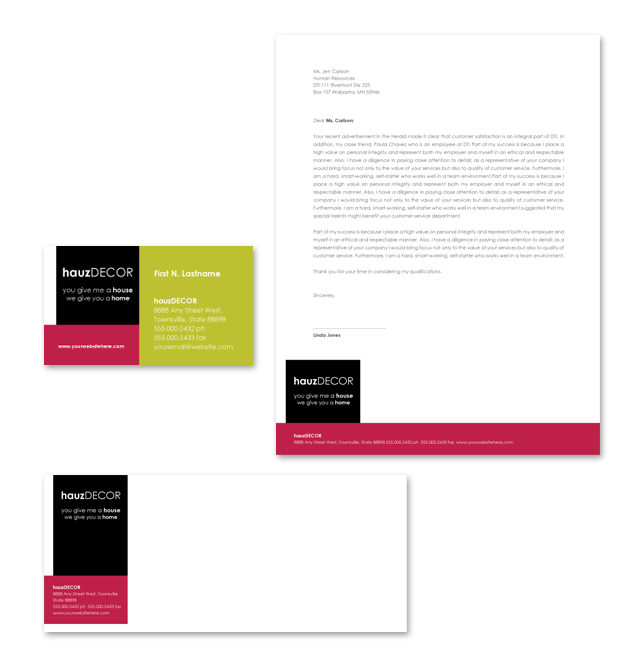 Interior Design Firm Stationery Kits Template