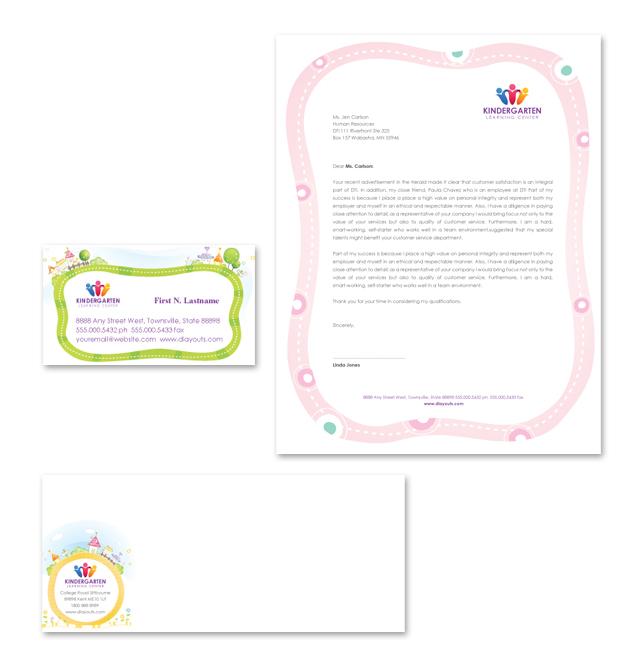 Kindergarten Stationery Kits Template