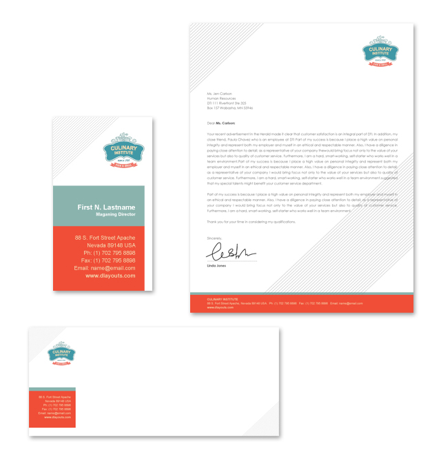 Culinary Institute Stationery Kits Template