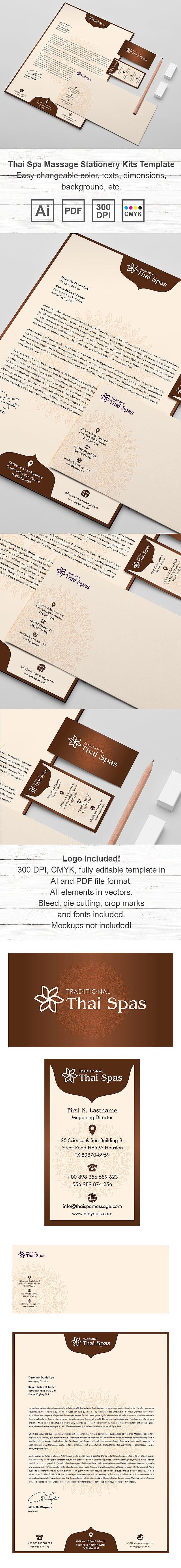 Thai Spa Massage Stationery Kits Template