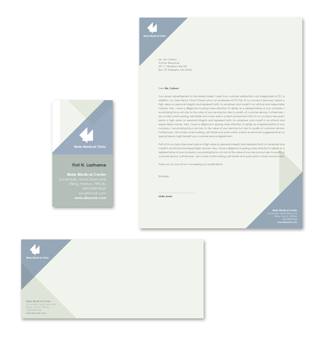 Male Medical Clinic Stationery Kits Template