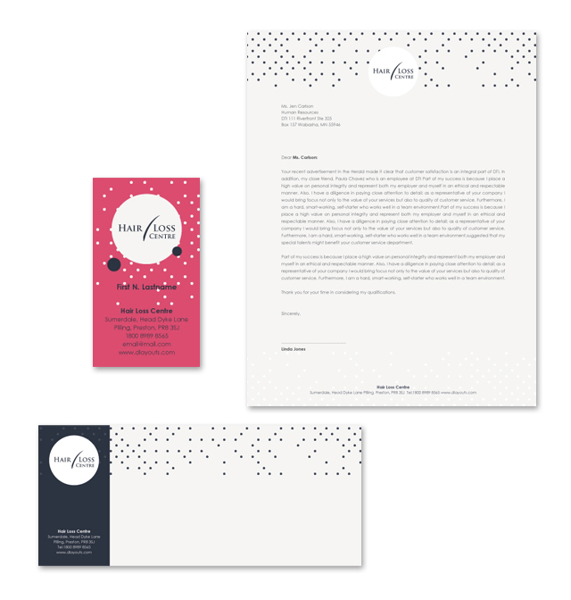 Hair Loss Treatment Centre Stationery Kits Template