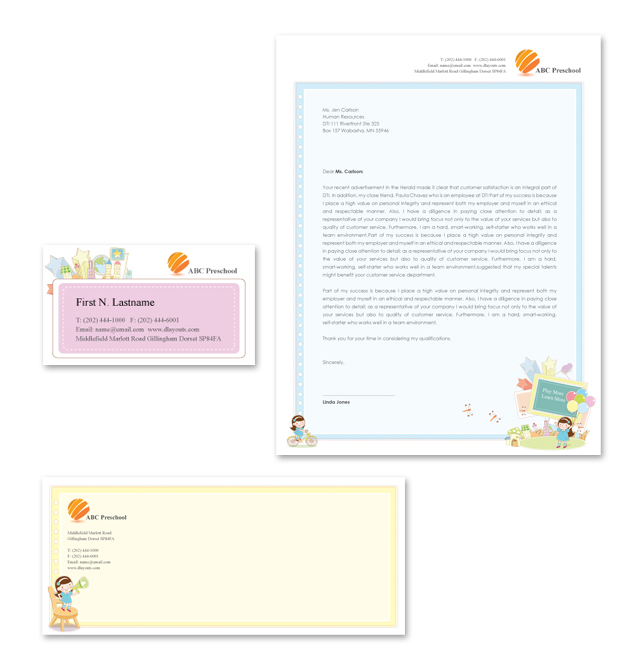 Preschool Stationery Kits Template