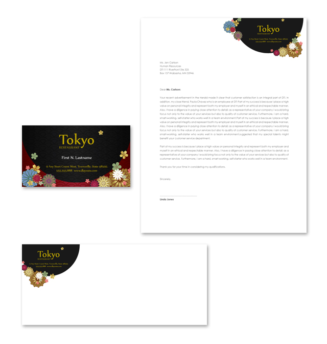 Japanese Restaurant Stationery Kits Template