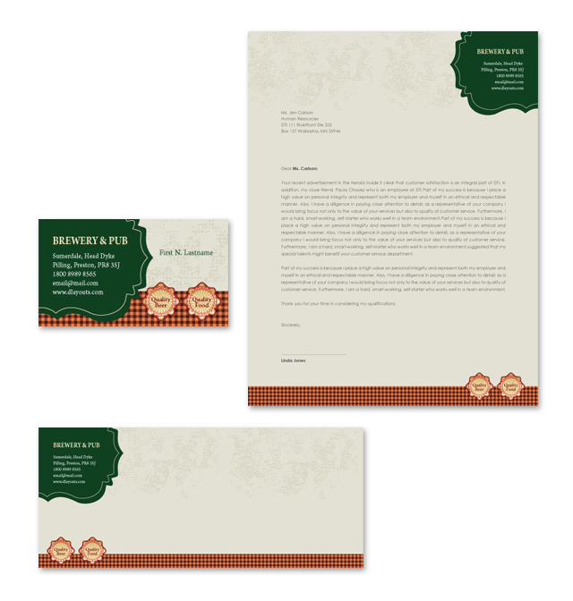 Brewery & Pub Stationery Kits Template