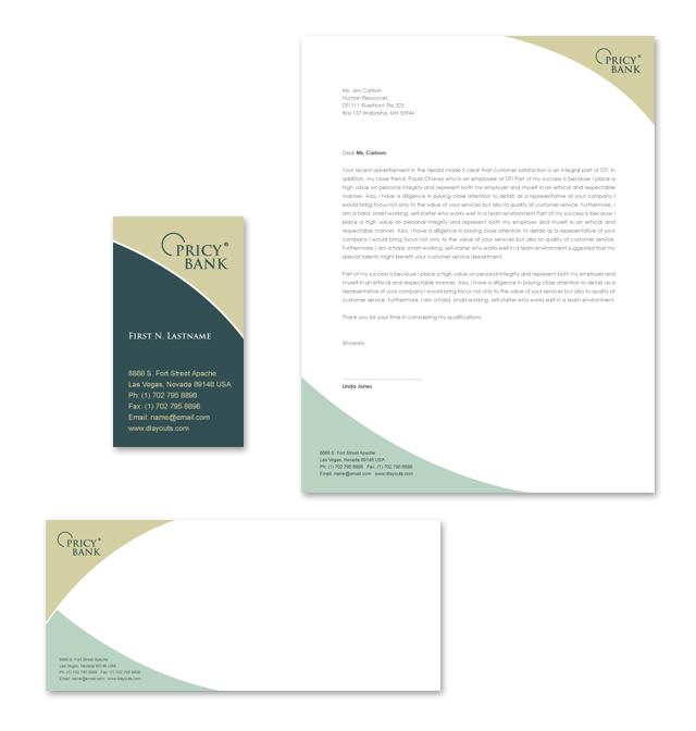 Private Bank Stationery Kits Template