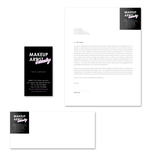 Makeup Artist Stationery Kits Template