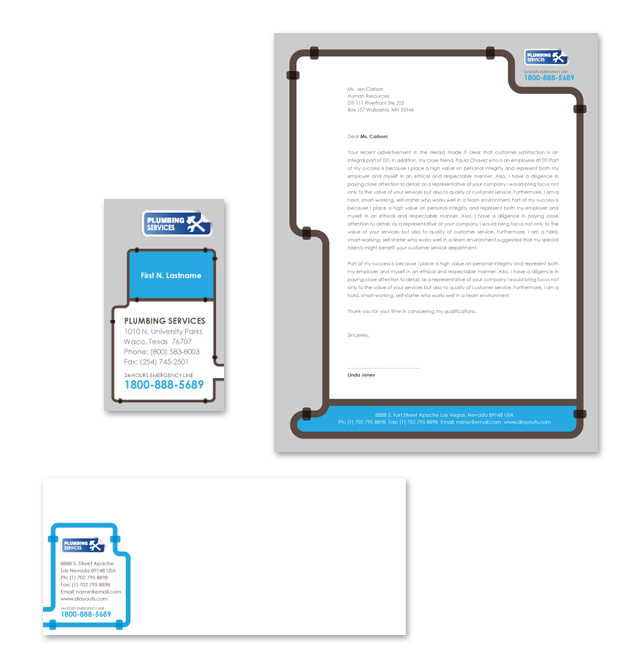 Plumbing Services Stationery Kits Template