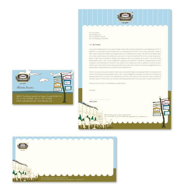 Cafe Deli Stationery Kits Template