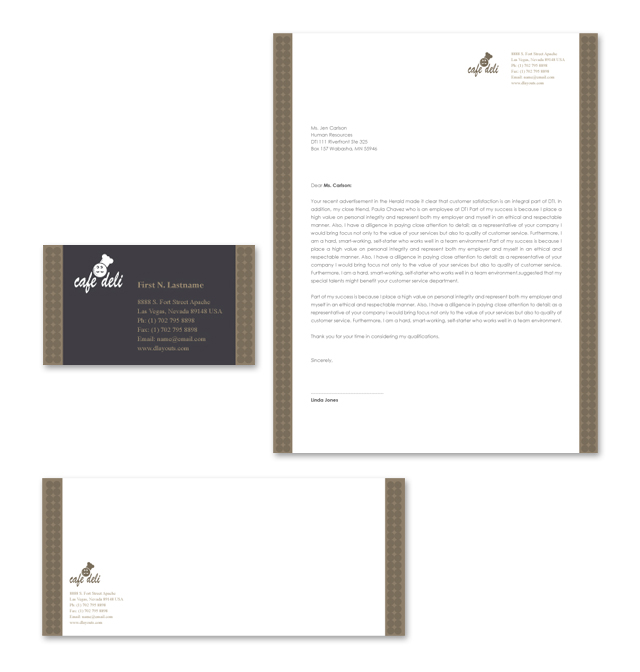 New Cafe Deli Stationery Kits Template