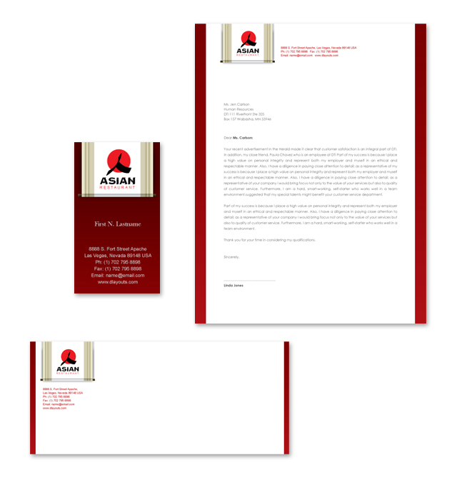 Asian Restaurant Stationery Kits Template